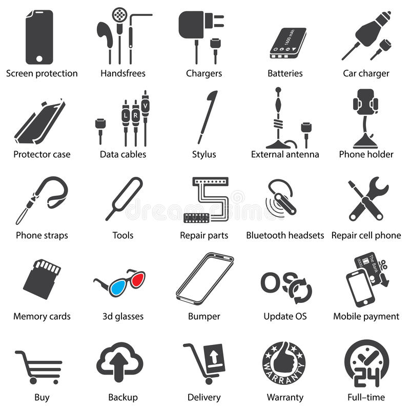 Ícones móveis ajustados da Web do servise ilustração stock