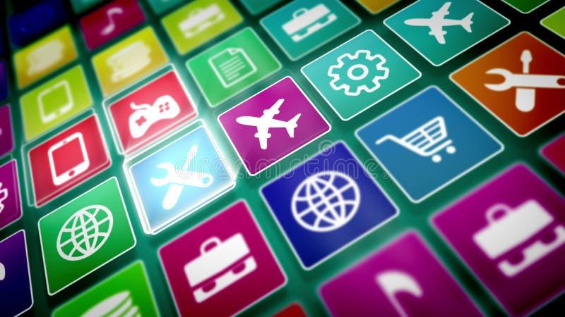 Ícones móveis coloridos da aplicação ilustração royalty free