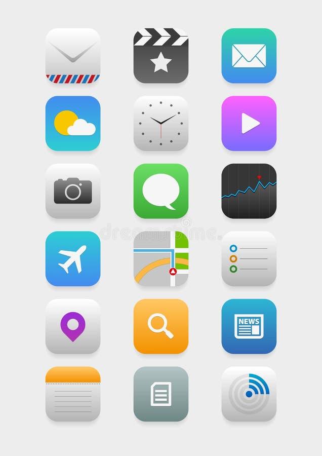 Ícones móveis da aplicação ilustração do vetor