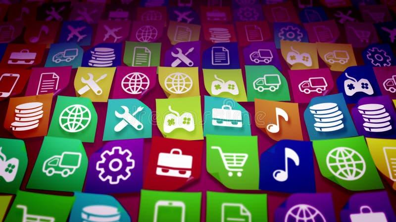 Ícones móveis descuidados da aplicação ilustração stock