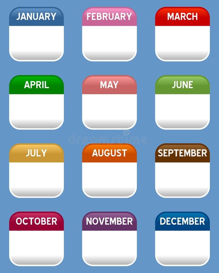 Ícones móveis do calendário ajustados ilustração do vetor
