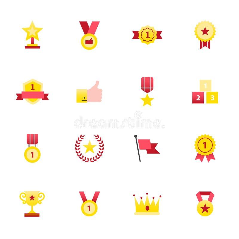 Ícones móveis e ícones da notificação Grupo de estilo liso dos ícones da cor da ilustração do vetor do ajuste ilustração stock