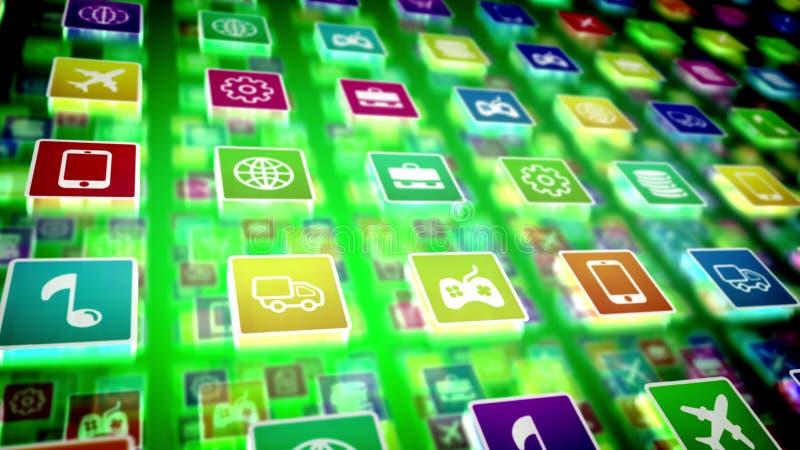 Ícones móveis holográficos da aplicação ilustração do vetor