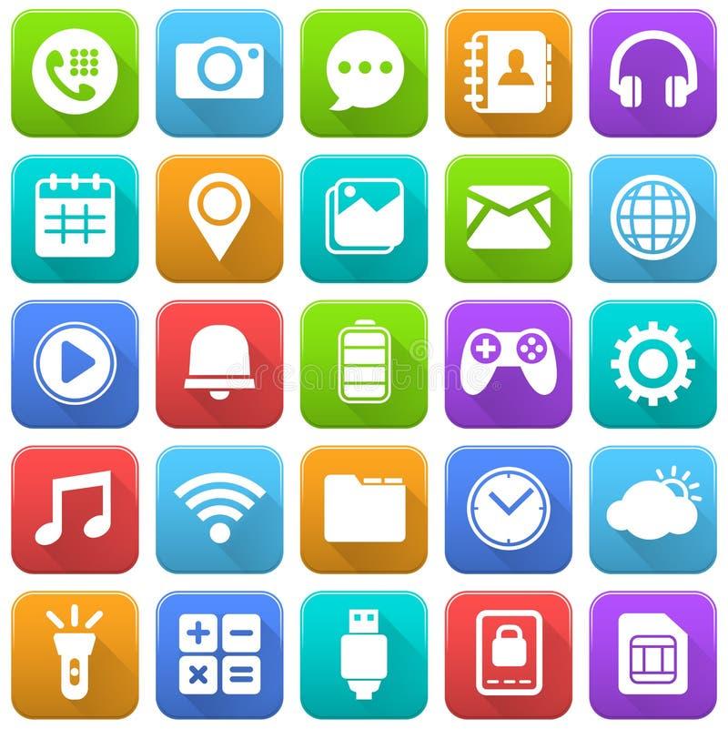 Ícones móveis, meios sociais, aplicação móvel, Internet ilustração stock