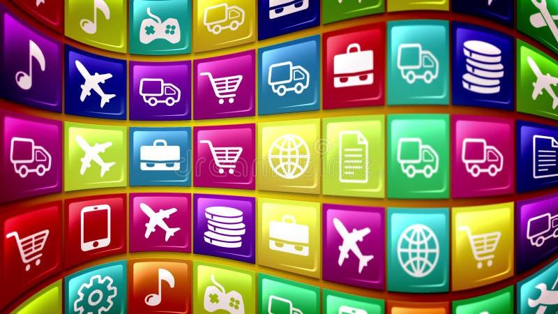 Ícones móveis ondulados da aplicação ilustração royalty free