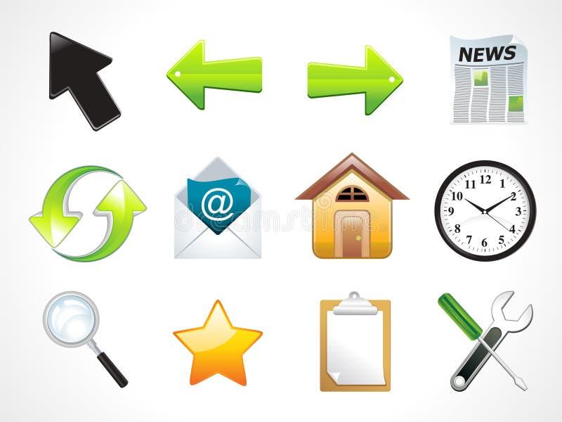 Ícones múltiplos brilhantes abstratos do Web ajustados ilustração do vetor