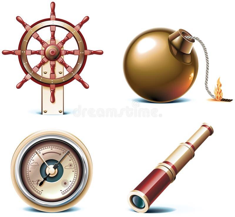 Ícones marinhos do curso do vetor. Parte 3 ilustração royalty free