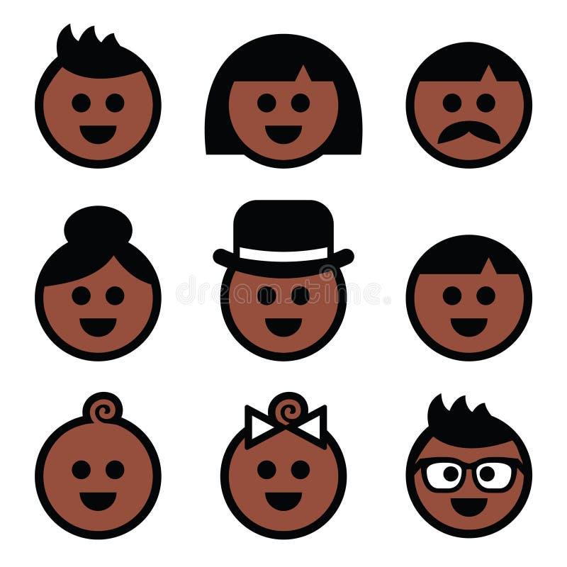 Ícones marrons, escuros humanos da cor da pele ajustados ilustração royalty free