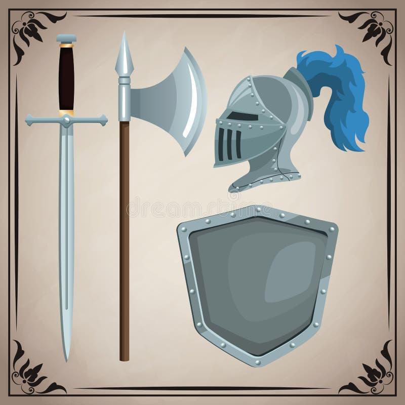 Ícones medievais das armas ilustração royalty free