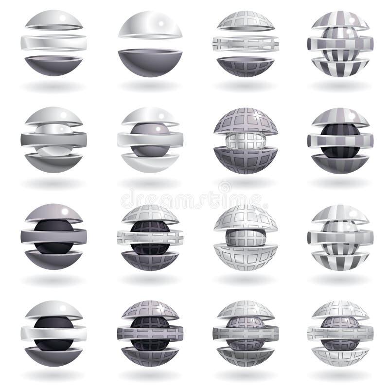 ícones metálicos da esfera 3d ajustados. ilustração royalty free