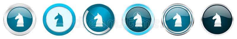 Ícones metálicos de prata da beira do cromo do cavalo da xadrez em 6 opções, ajustadas dos botões redondos azuis da Web isolados  ilustração royalty free