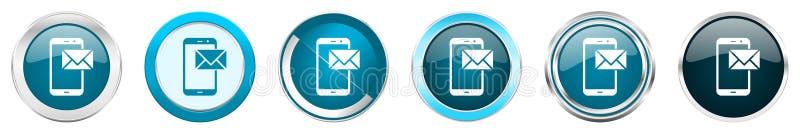 Ícones metálicos de prata da beira do cromo do correio em 6 opções, ajustadas dos botões redondos azuis da Web isolados no fundo  ilustração stock