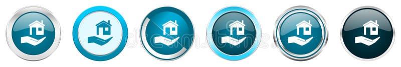 Ícones metálicos de prata da beira do cromo do cuidado da casa em 6 opções, ajustadas dos botões redondos azuis da Web isolados n ilustração do vetor