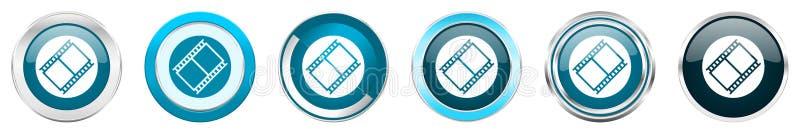 Ícones metálicos de prata da beira do cromo do filme em 6 opções, grupo de botões redondos azuis da Web isolados no fundo branco ilustração do vetor