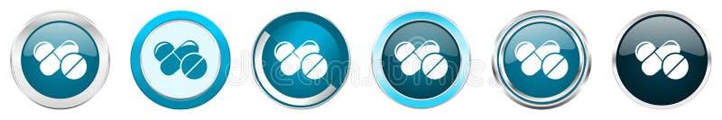 Ícones metálicos de prata da beira do cromo da medicina em 6 opções, ajustadas dos botões redondos azuis da Web isolados no fundo ilustração do vetor