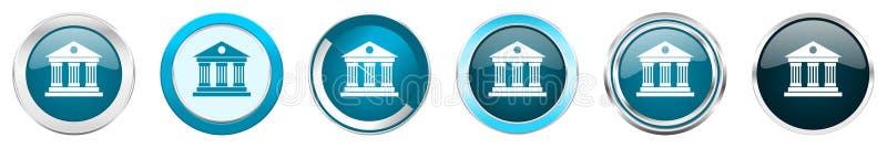 Ícones metálicos de prata da beira do cromo do museu em 6 opções, grupo de botões redondos azuis da Web isolados no fundo branco ilustração stock
