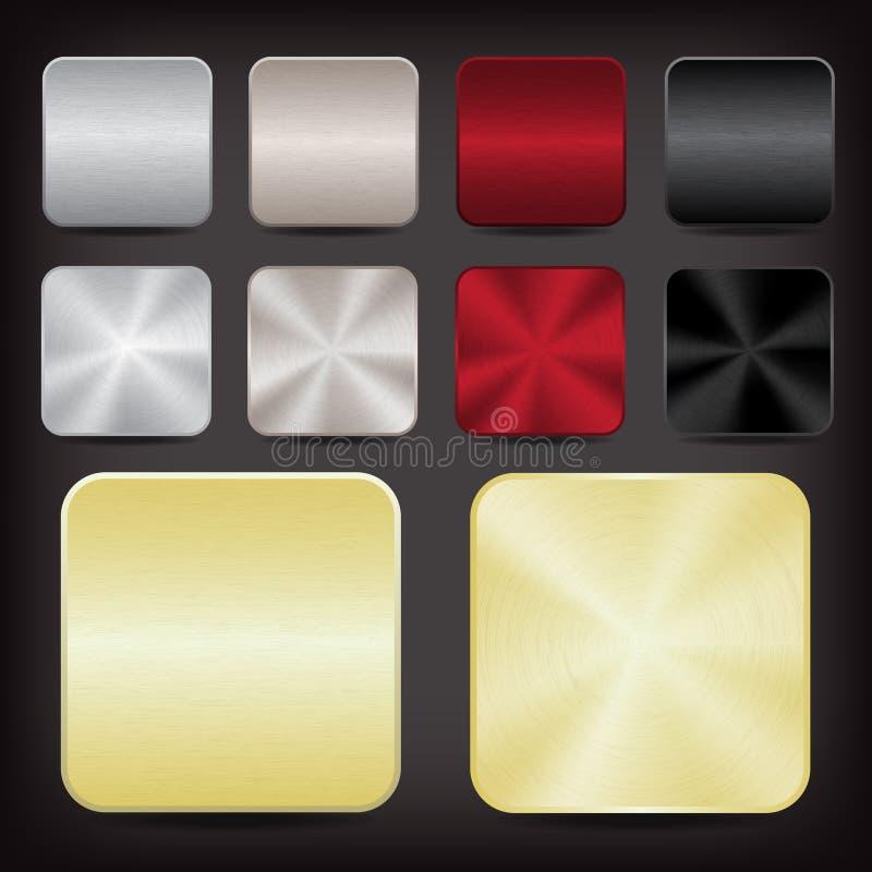 Ícones metálicos do app ilustração stock