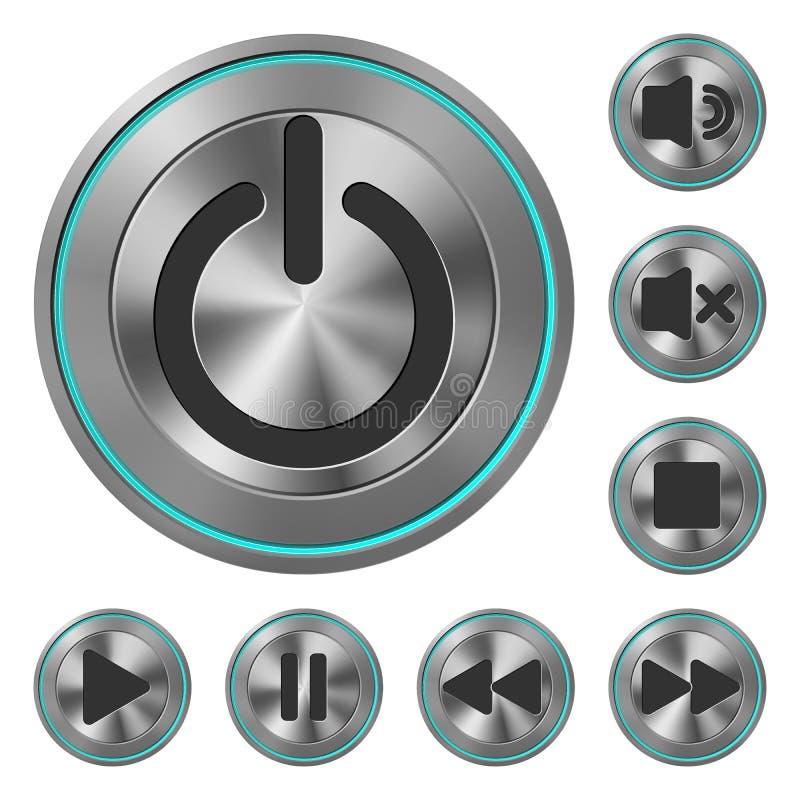 Ícones metálicos Media Player ilustração stock