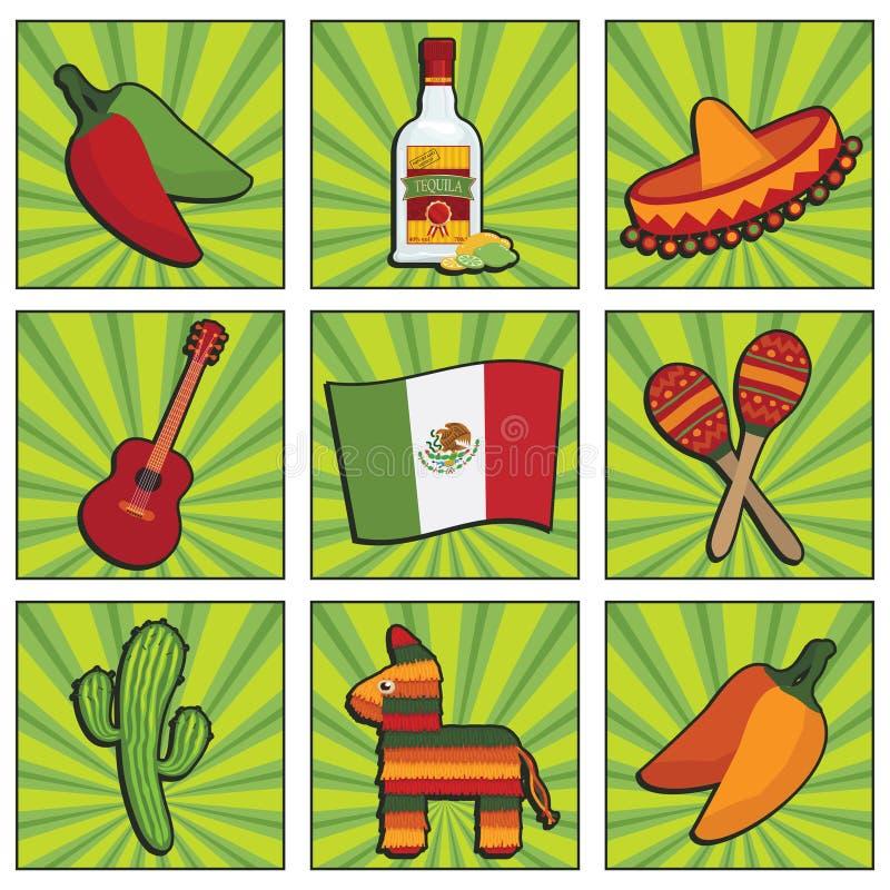 Ícones mexicanos ilustração stock