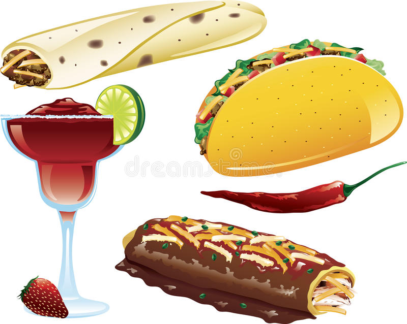 Ícones mexicanos do alimento ilustração do vetor