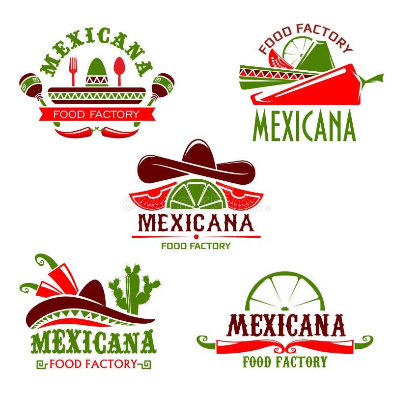 Ícones mexicanos do vetor do restaurante da culinária do alimento ajustados ilustração do vetor