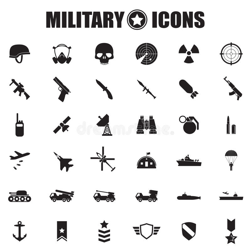 Ícones militares ajustados ilustração do vetor