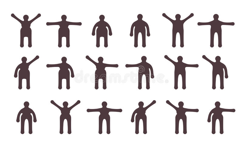 Ícones minimalistic dos povos ajustados ilustração stock