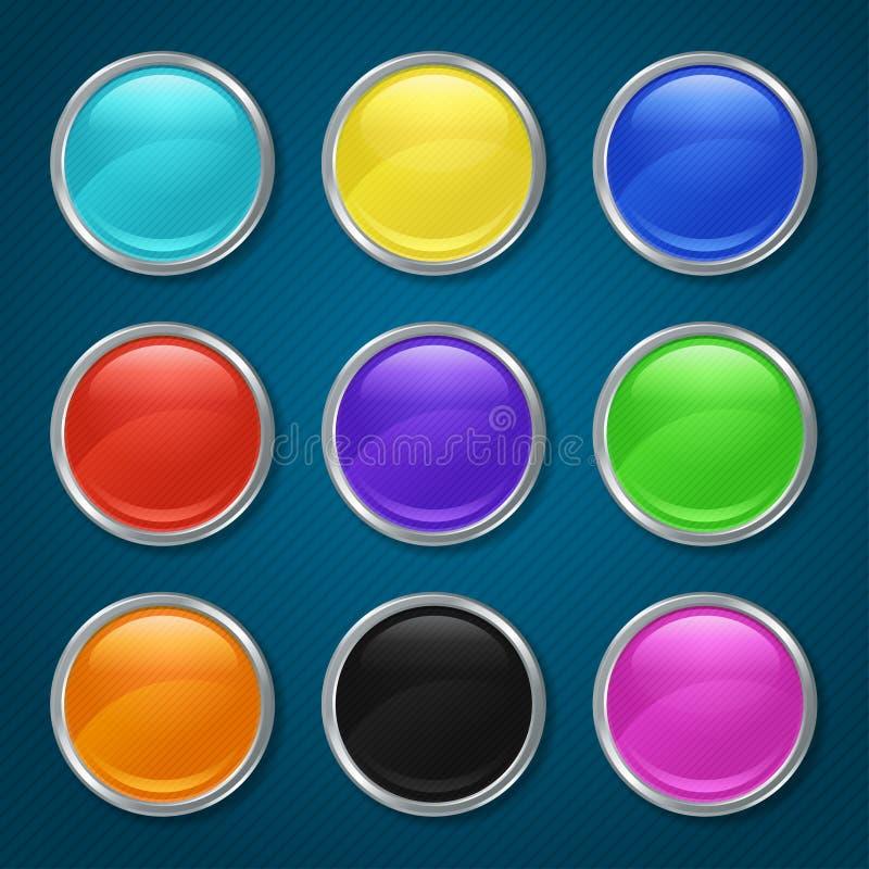 Ícones modelados redondos para o app ilustração royalty free