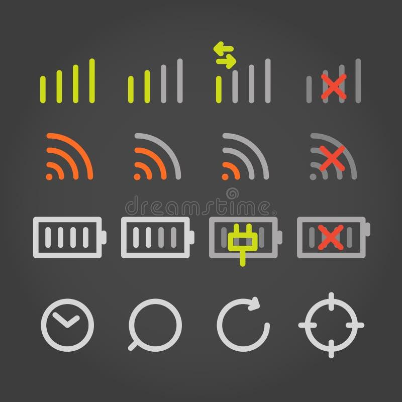Ícones modernos da aplicação da cor do dispositivo ilustração stock