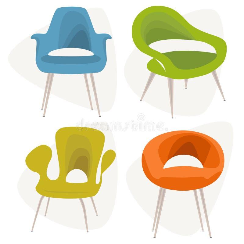 Ícones modernos da cadeira ilustração royalty free
