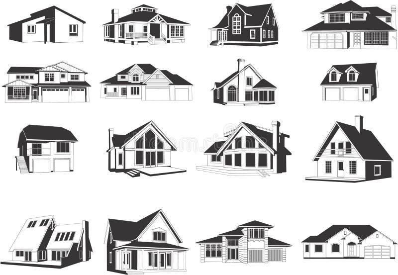 Ícones modernos das casas ilustração royalty free