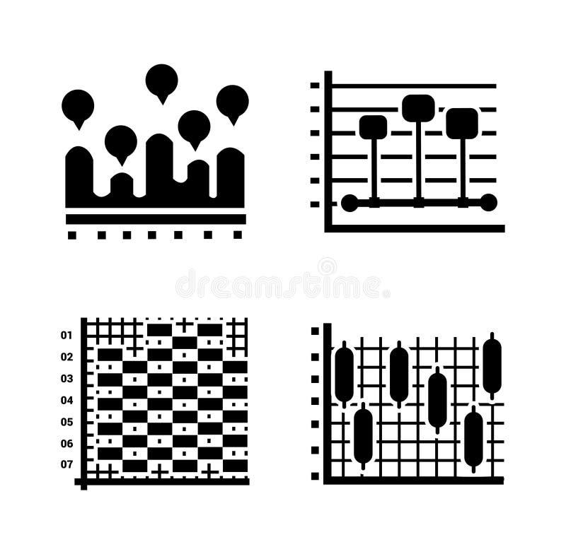Ícones modernos do Glyph das cartas ilustração royalty free