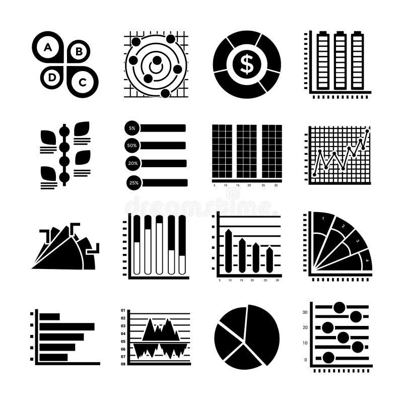Ícones modernos do Glyph de Infographics ilustração do vetor