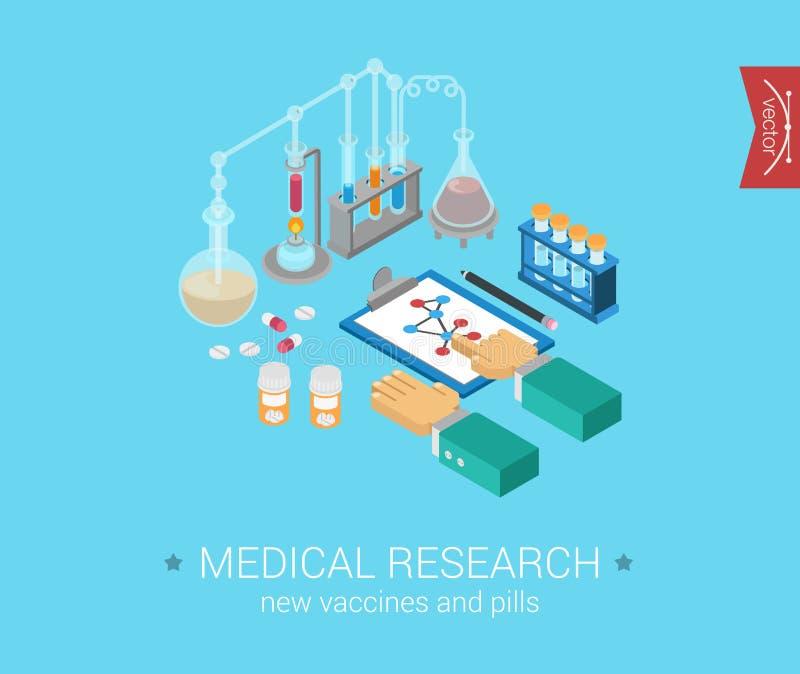 Ícones modernos isométricos lisos do conceito 3d da investigação médica ilustração royalty free