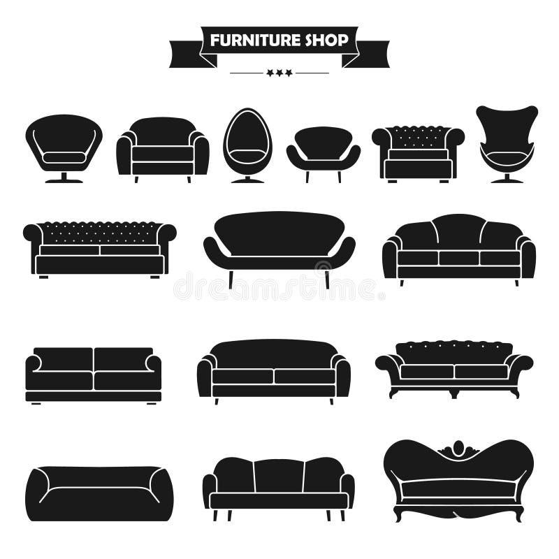 Ícones modernos luxuosos do sofá e do sofá ajustados Fu do vintage ilustração stock