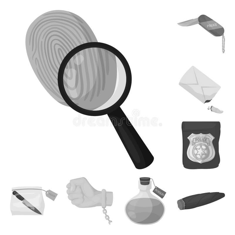 Ícones monocromáticos da agência de detetive na coleção do grupo para o projeto Web do estoque do símbolo do vetor do crime e da  ilustração stock