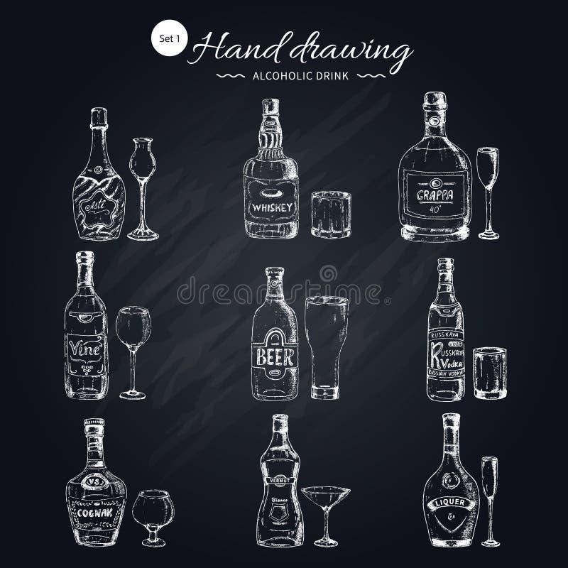Ícones monocromáticos das bebidas alcoólicas ajustados ilustração do vetor