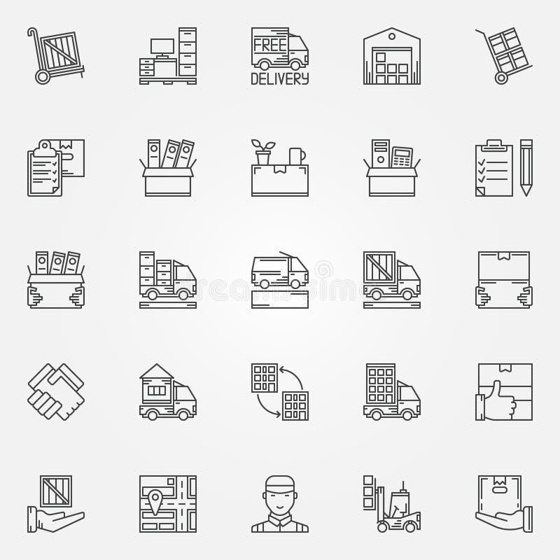 Ícones moventes da casa ou do escritório ilustração do vetor