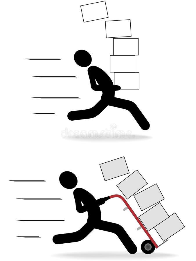 Ícones moventes rápidos dos povos do símbolo do transporte da entrega ilustração do vetor