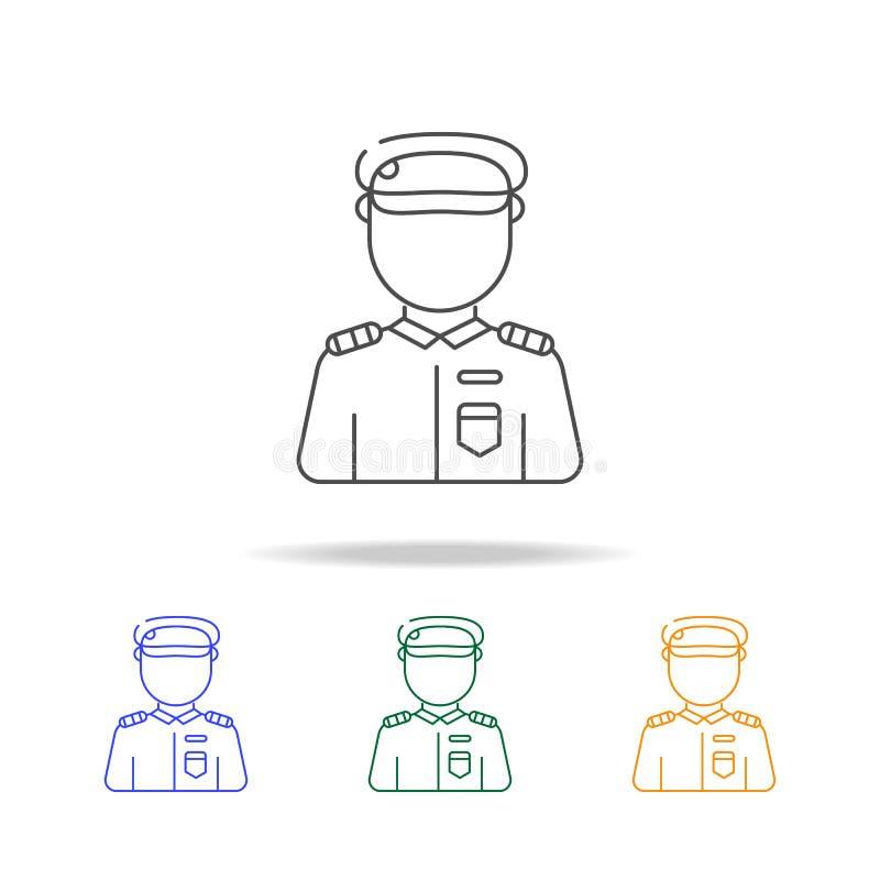 Ícones multicoloured do avatar do soldado Elemento do avatar da profissão para de apps móveis do conceito e da Web Linha fina íco ilustração stock