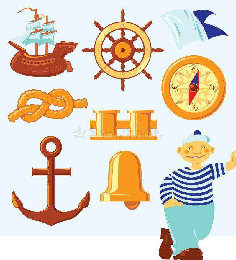 Ícones náuticos ilustração royalty free