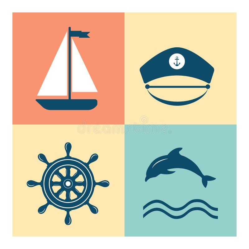 Ícones náuticos e do mar, crachás e etiquetas ilustração do vetor