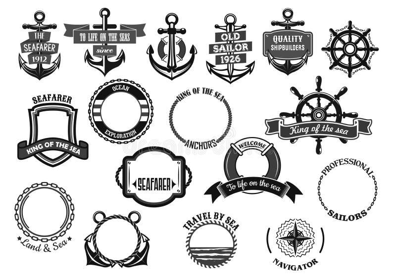 Ícones náuticos e marinhos do vetor dos símbolos ajustados ilustração do vetor