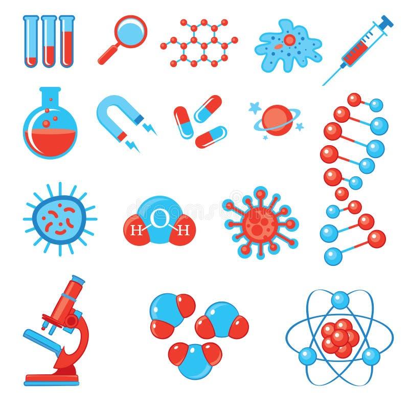 Ícones na moda da ciência Biologia e medicina da química da física ilustração royalty free