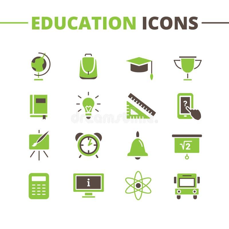Ícones na moda da escola do vetor ajustados Minimalistic liso ilustração stock