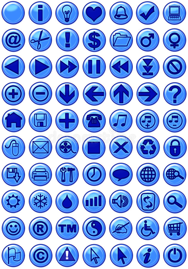 Ícones na obscuridade - azul do Web ilustração do vetor