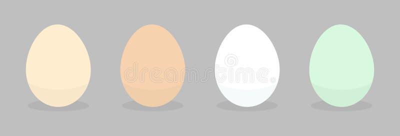 Ícones naturais diferentes dos ovos ilustração do vetor