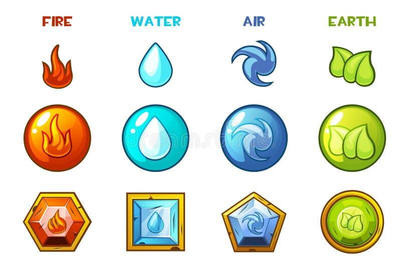 Ícones naturais dos elementos dos desenhos animados quatro - terra, água, fogo e ar ilustração royalty free