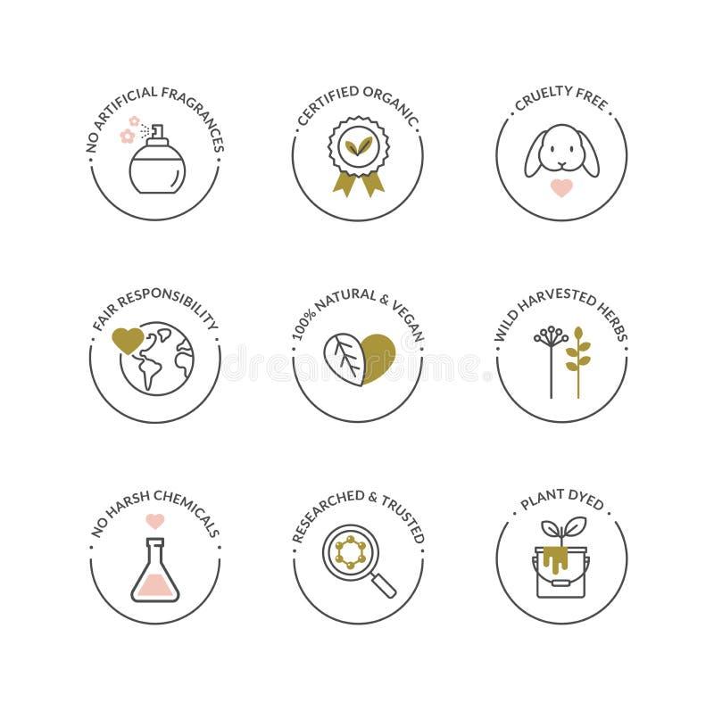 Ícones naturais e orgânicos do produto do skincare ilustração royalty free