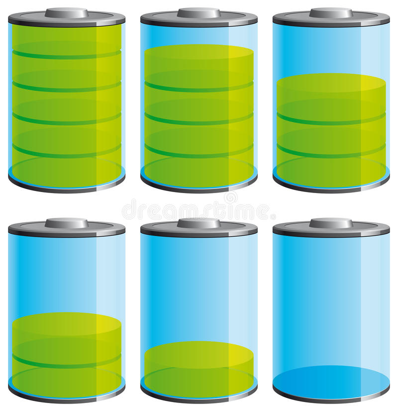 Ícones nivelados da bateria ilustração stock